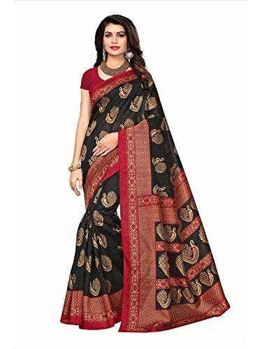 Applecreation women\'s art silk saree with blouse piece (SRJB009_Black_Free Size)