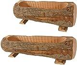 Blumenkasten aus Holz, ausgehöhlter Baumstamm, 50x 15 cm