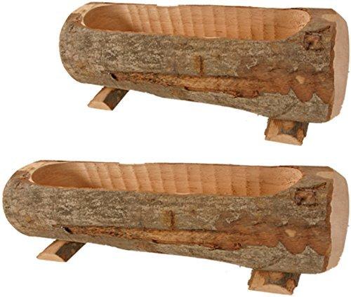 Fioriera in legno naturale, tronco porta fiori, cm 50x15