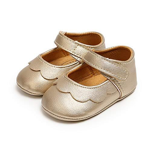 Ortego Baby Lauflernschuhe Krabbelschuhe Leder Mädchen Kleinkind Rutschfesten Lederpuschen Babyschuhe Golden 0-6 Monate