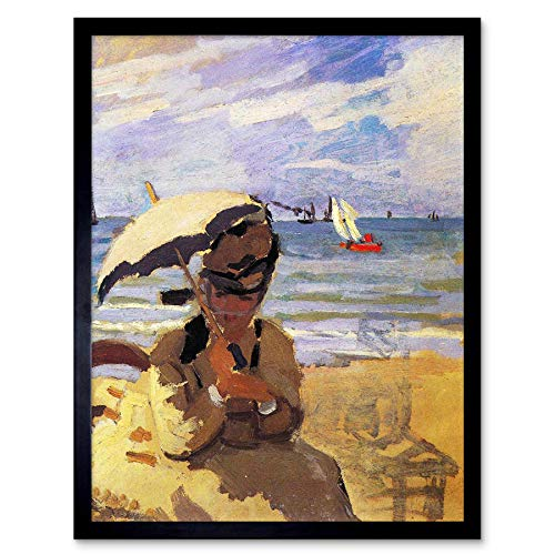 Wee Blue Coo LTD Claude Monet Camille On Beach at Trouville Old Master Painting Art Print Framed Poster Wall Decor Kunstdruck Poster Wand-Dekor-12X16 Zoll
