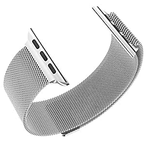Shopizone® 42mm Black link Bracelet Stainless Steel Wooven iwatch watchband For Apple WatchS Series 1 2 & 3 (Silver)