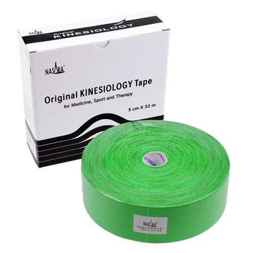 NASARA Kinesiologie Tape kinesiologische Tapes *32m x 50mm * Papp-Spenderbox (grün)