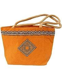 Generic Puneri Women's Stylish Jute Hand Bag With Long Handle Orange Color