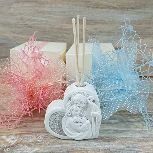 Bomboniere profumatore cuore immagine sacra famiglia, comunione, cresima, battesimo (cuore sacra famiglia kit confezione rosa)
