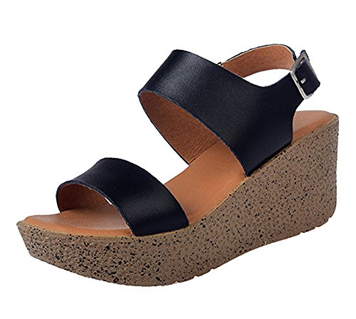 Sandálias Femininas Dayiss Sandálias De Cunha Calcanhar Strappy Sapatos Casuais Preto Verão
