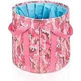 MIAO Cubo plegable, al aire libre 25 litros de gran capacidad portátil de viaje de camping pie cuenca / cuenca / pesca cubo , pink