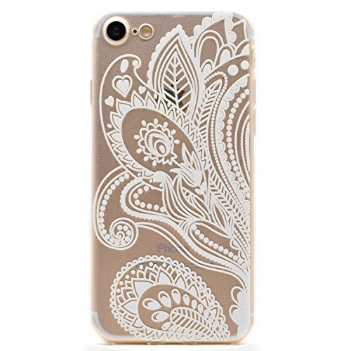 Voguecase® Per Apple iPhone 7, Custodia Silicone Morbido Flessibile TPU Custodia Case Cover Protettivo Skin Caso (Be happy / pastello) Con Stilo Penna pizzo piuma