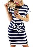 Yieune Sommerkleid Damen Lose Abendkleid Einfarbig Knie Lang Kleider Elegant Strandkleid Minikleid (Marine XXL