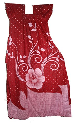 Bigfashionshop Womens Nighty Maroon Dot Floral Printed Cotton Maxi Dress M  available at amazon for Rs.390
