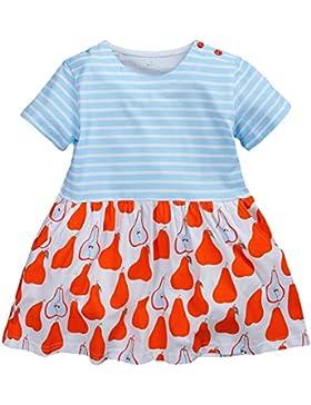 Kaily Mädchen Baumwolle Freizeit kurze Ärmel Streifen T-shirt Kleid