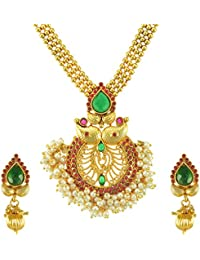 Adiva Traditional Fashion Rani Green Copper Alloy Jewellery Set With Necklace And Earring For Women