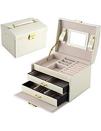 DCCN Boite a Bijoux Femme Fille Cuir Coffret à Bijou Elégant avec Miroir Armoir Mallette/ à Maquillage, Boite de Rangement Maquillage et Cosmétique Design Blanc
