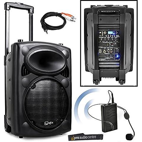 QTX QR10PA Sistema PA portatile con microfono auricolare Wireless VHF, funzionamento a batteria, cavo di connessione per altoparlanti per iPod
