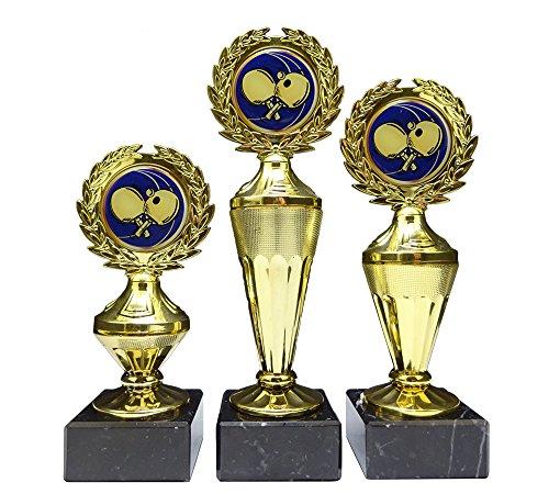 RaRu 3er-Serie Tischtennis-Pokale mit Blauen Emblemen und mit Ihrer Wunschgravur (Biso3)