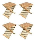 4X Bambus Klapphocker Partyhocker Gästestuhl Gartenstuhl Beistelltisch Fußbank