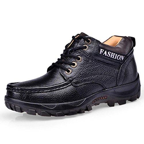 Hombre Otoño Invierno Botas De Moda Martin Plus Cashmere Mantener Caliente Zapatos De Cuero Fondo Grueso Aumenta El Calzado Antideslizante Protección Para Los Pies Euro Talla 39-44 Negro