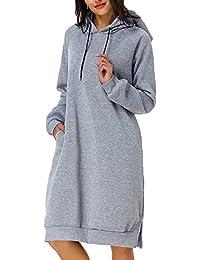 Kidsform Womens Hoodie Jumper Dress Ladies Hoodies Jumper Dresses Long Hooded Sweatshirt
