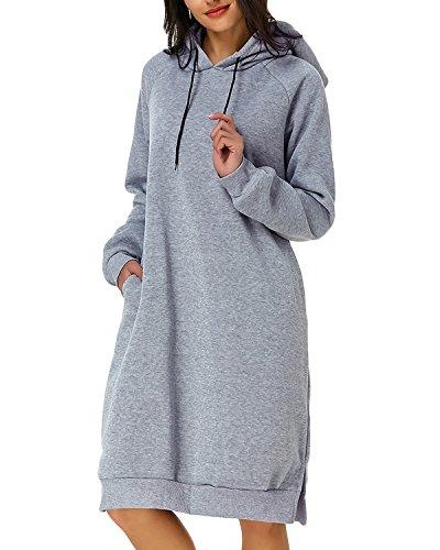 Kidsform Damen Hoodie Pullover Kapuzenpullover Herbst Pulli Kleider Sweatjacke Jumper Lange Sweatshirt M grau