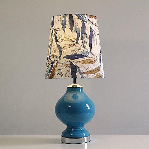 WDTDCD Blaues Glas Tischleuchte Willow Drucken Lampenschirm American Nachttischlampe, Willow Glas