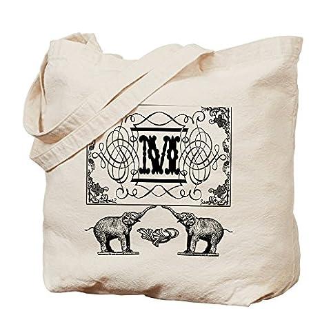 CafePress–Buchstabe M kunstvollem Circus Elefanten Monogramm Totebag–Leinwand Natur Tasche, Reinigungstuch Einkaufstasche