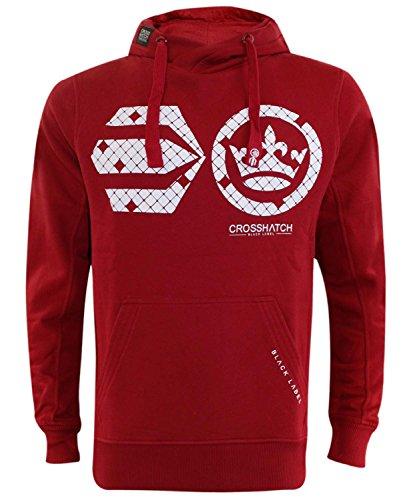 Nuovo uomo Crosshatch Pullover Cresciuto Stampa Hoody Classic Maglia con cappuccio Sweat Shirt Arroawan2 Red Dahlia