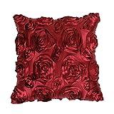 nikgic 1 funda de almohada 3d rosas diseño applicable en los coches sala de boda decoración de muebles, tamaño: 40 * 40 cm, poliéster, rojo intenso, 40*40cm