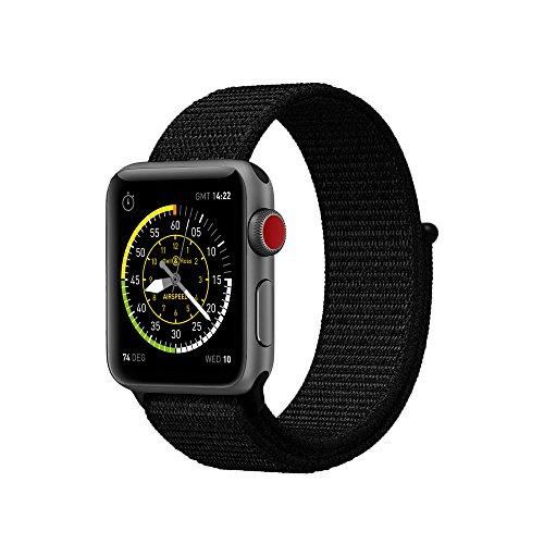 METEQI für Apple Watch Armband, Nylon Sport Schlaufe Handgelenk Uhrband Ersatz Armreif Uhrenarmband für iWatch Apple Watch Series 3, Series 2, Series 1, Edition (42MM, Dunkles Schwarz)