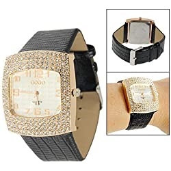 Lady Crocodile Print Black Faux Leather Band Rhinestone Decor Case Wristwatch