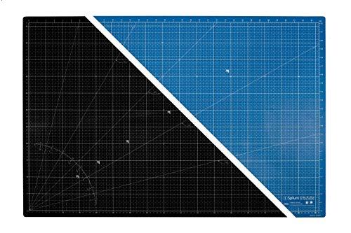 Spluni 2 in 1 selbstheilende Schneidematte, A1, Nähunterlage, 90x60 cm - Maße in cm und inch/Schreibtischunterlage / 90° Radius/Hilfslinie bei 40cm / optimal für Rollschneider