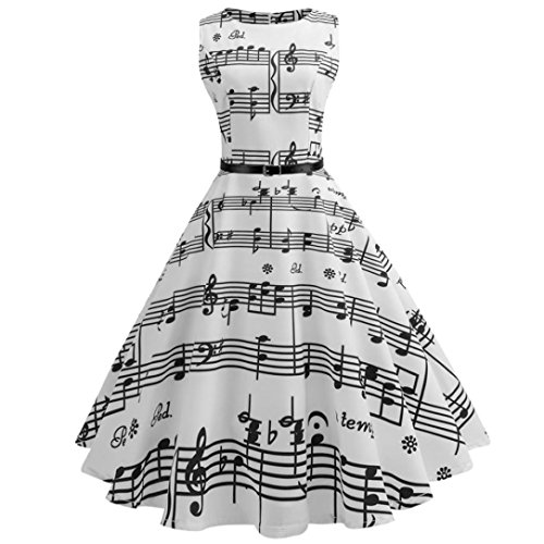 Damen 50er Vintage Kleider Ärmellos Audrey Hepburn Abendkleid Cocktailkleid mit Musik Hinweis Druckkleider Damen Rockabilly kleid Faltenrock Swing Kleid Sommerkleider Knielang (White, 2XL) (White-tank Vintage)