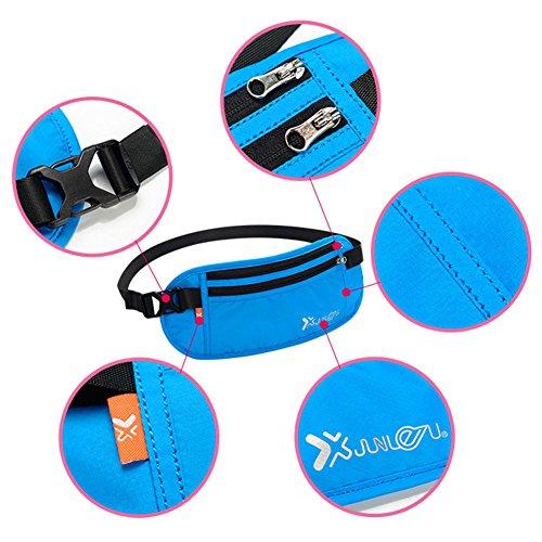 Geld Gürtel Taille Brieftasche Pounch Buit-in RFID Blocking Versteckte Trave Passport Brieftaschen Mit 1x Pass und 6 x Kreditkarte RFID Sleeves Von Hibote blau