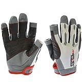 MOTIVEX® Professional Segelhandschuhe weiß/rot Rückseite Elasthan, beschichtete Handflächen, 2 Finger geschnitten, verstärkte Finger, Größen L