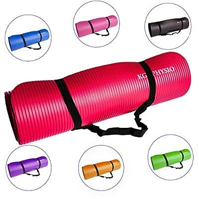 KG Physio Premium Yogamatte - Gymnastikmatte, Fitnessmatte, trainingsmatte oder Zuhause mit Schultertragegurt 183 cm x 60 cm x 1 cm von KG Physio