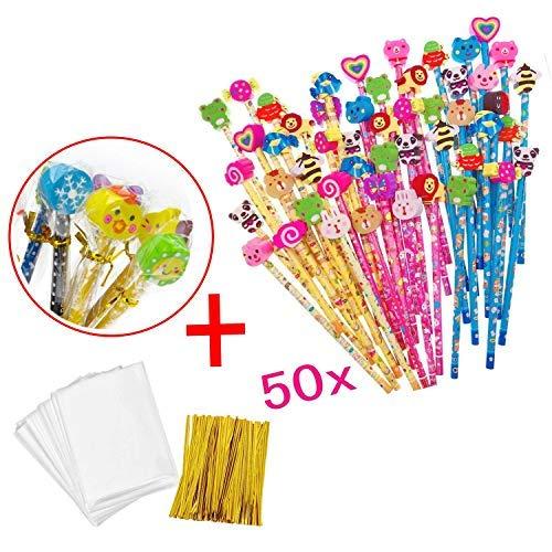 LEEQ 50 x Holz Graphit Bleistifte Set mit Cartoon Radiergummi für Kinder Party Gastgeschenke Verschenken Danke Geschenk Party Tüte Füller Geburtstag für Jungen Mädchen