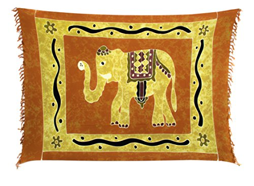 Sarong Pareo Wickelrock Strandtuch Tuch Wickeltuch Handtuch Gratis Schnalle Schließe (Elefant Orange Beige Töne SHBO) (Sarong Wickelrock)
