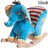 Unbekannt Plüsch Baby Schaukel Elefant, Metallkern gute Polsterung und weiches Kuschelfell: Schaukeltier Plüsch Schaukelwippe Schaukelpferd Holz Baby Schaukel Wippe