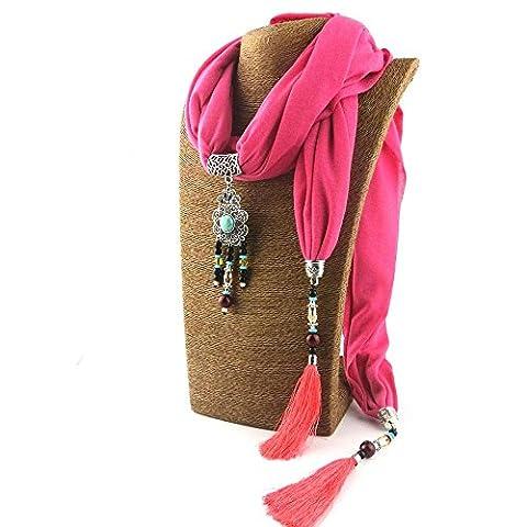 Yxzn Style ethnique Pendentif Collier Femme Écharpe, 3