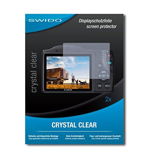 SWIDO Schutzfolie für Canon PowerShot SX420 is [2 Stück] Kristall-Klar, Hoher Härtegrad, Schutz vor Öl, Staub und Kratzer/Glasfolie, Displayschutz, Displayschutzfolie, Panzerglas-Folie