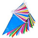 Mudder Multicouleur Plastique Fabric Fête Bunting Drapeau Triangulaire 30 Drapeaux Double Face Intérieur / Extérieur Fête Décoration, 36 Pieds