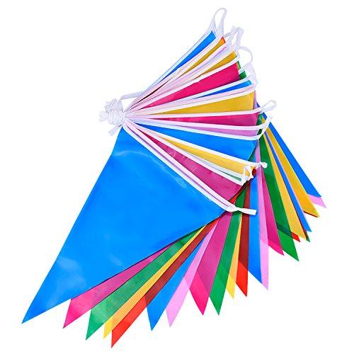 Mehrfarbige Plastik Wimpel Girlande Doppelseitige Indoor/ Outdoor Party Dekoration (36 Fuß) (Und Blau-party Dekorationen Gelb)