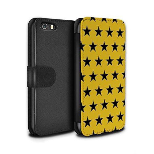 Stuff4 Coque/Etui/Housse Cuir PU Case/Cover pour Apple iPhone SE / Rouge Design / Motif Étoiles Collection Orange