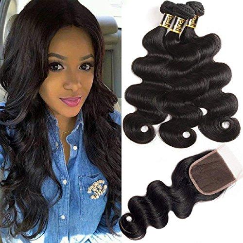 Yavida 8a capelli umani brasiliani tessitura con chiusura remy brasilian human hair extension capelli veri con closure colore naturale 16 18 20+14 pollici