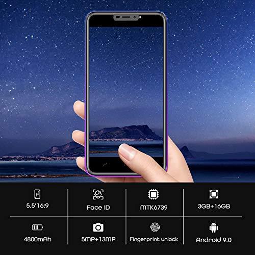 Smartphone Débloqué 4G,Android 9.0, 5.5 pouces13MP 4800mAh Téléphone Mobile, HD 3GO RAM 16GO ROM /128 Expansion Dual SIM Face ID Téléphone Portable Pas Cher sans Forfait WiFi GPS Bluetooth (Pourpre)