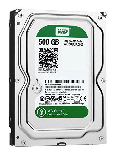 Western Digital WD5000AZRX Green 500GB interne Festplatte (8,9 cm (3,5 Zoll), 5900rpm, 8,9ms, 64MB Cache) (Western Digital Green 500gb)