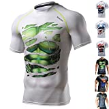 KHROOM Sport Herren Kompressionsshirt perfekt für Fitness und Freizeit - Hochwertiges Funktionsshirt im stylischen Helden Look - Hulk, Superman, Batman, Ironman, Black Panther, Spiderman, Captain America (M, Hulk weiß)