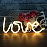 LED Love Neon Light Sign - Neon Signs White Love Light up Signs Wall Lights Battery and USB Operated Neon Lamps Room Decor for Bedroom,Living Room,Wedding,Christmas Gift
