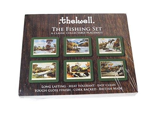 thelwell-angeln-tisch-sets-set-6-verschiedene-melamin-mats-mit-kork-rucken-mit-die-sportliche-bilder