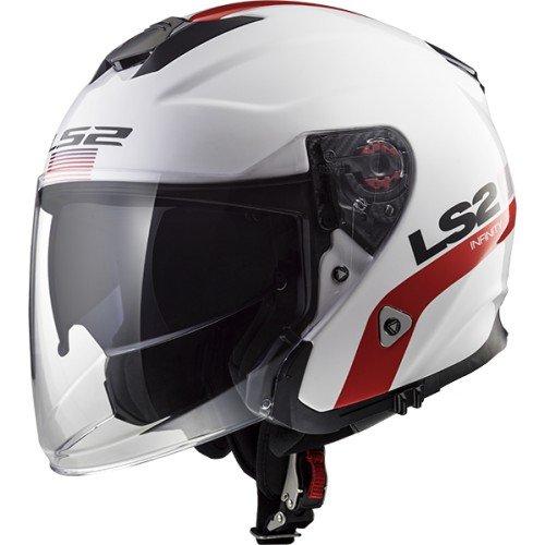 LS2casco da moto, bianco/rosso, taglia L