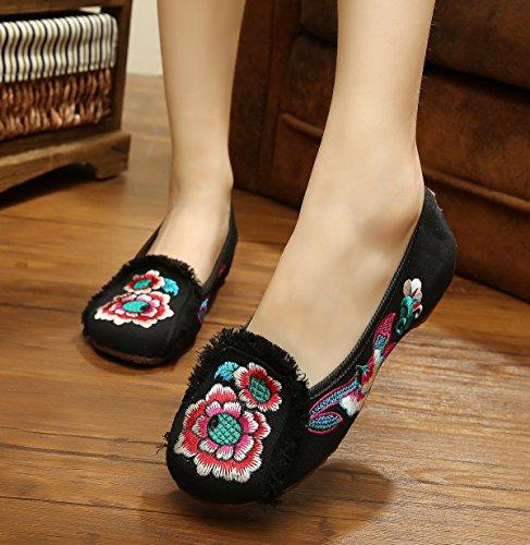 Hua Chaussures Brodées, Lin, Rideaux Simples, Style Ethnique, Chaussures Femmes, Mode, Confortable, Chaussures De Danse Blac